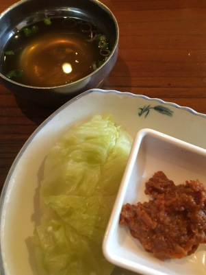 bowl'd: soup and steamed cabbage with soybean paste